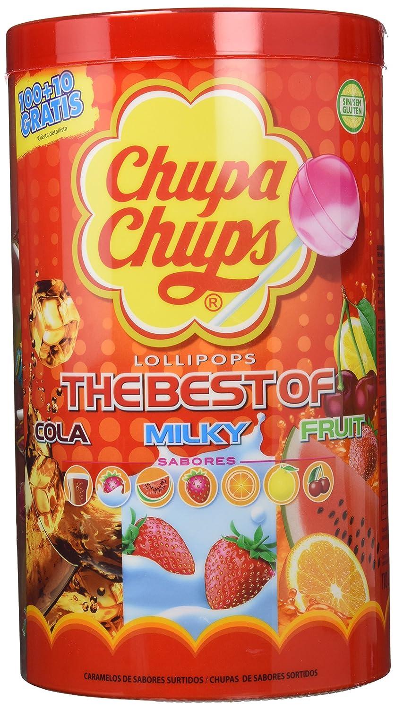 Chupa Chups - Caja de 100 caramelos, surtido: sabores aleatorios (Cola, fresa-nata, sandía, fresa, naranja, limón y cereza) [Modelo antiguo]