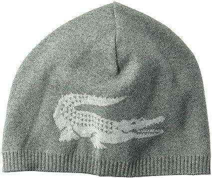 Lacoste Men s Big Crocodile Jacquard Reversible Wool Beanie 9cafb26c1fd8
