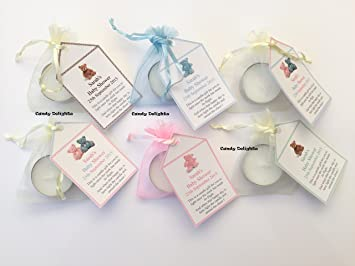 20 Baby Shower Diy Organza Bag Candle Personalised Tag Favours