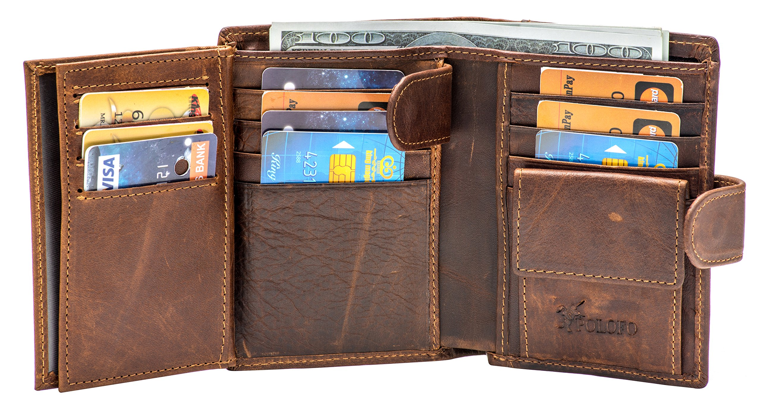Large RFID Genuine Leather Card Holder Trifold Wallet Snap Closure 3 ID Windows for men (Coffee)