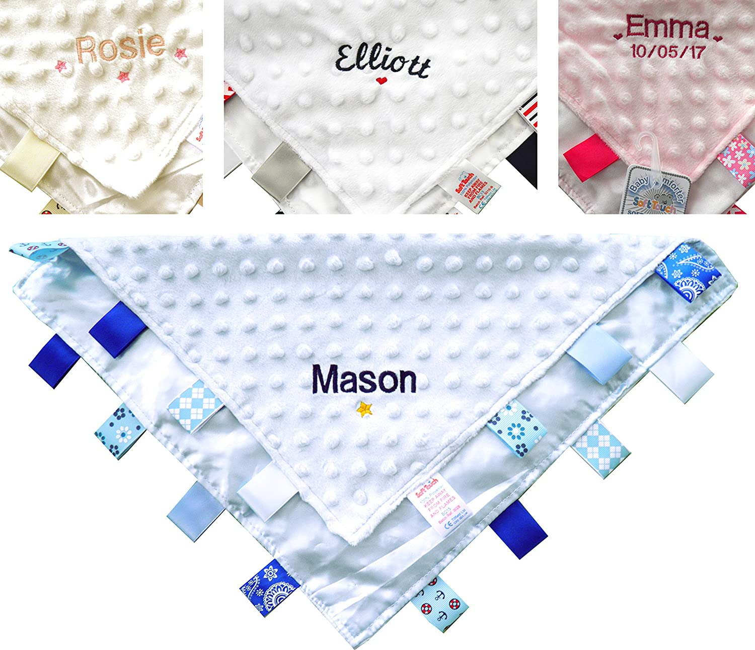 personalised taggie Personalised taggy blanket comfort blanket new baby gift