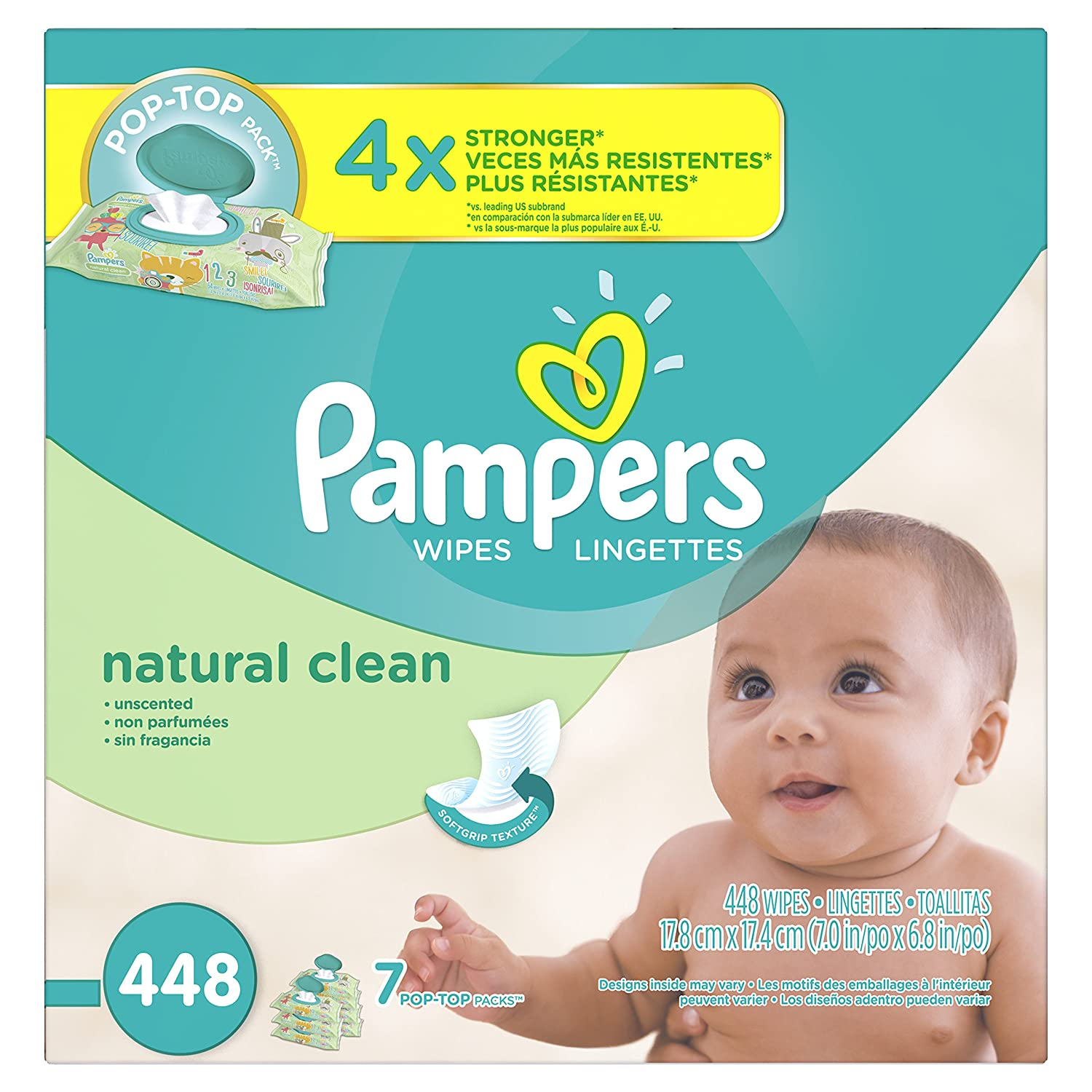 Pampers Baby Wipes Natural Clean (Unscented) 7X Pop-Top, 448 Diaper Wipes 37000894001