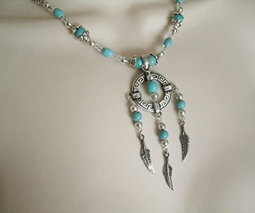 handmade jewelry southwestern southwest country western cowgirl boho bohemian hippie Turquoise Feather Necklace
