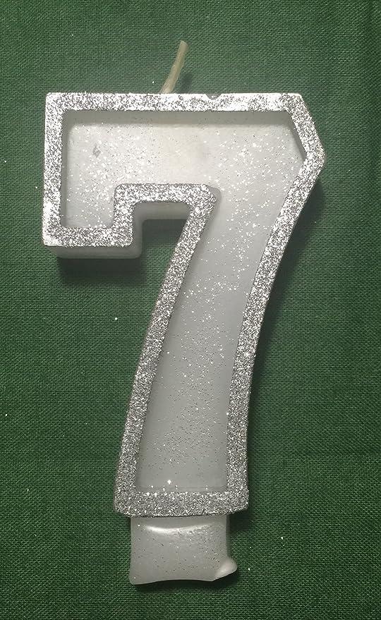 WASIWAX - Vela para tarta de cumpleaños, número 7, color ...