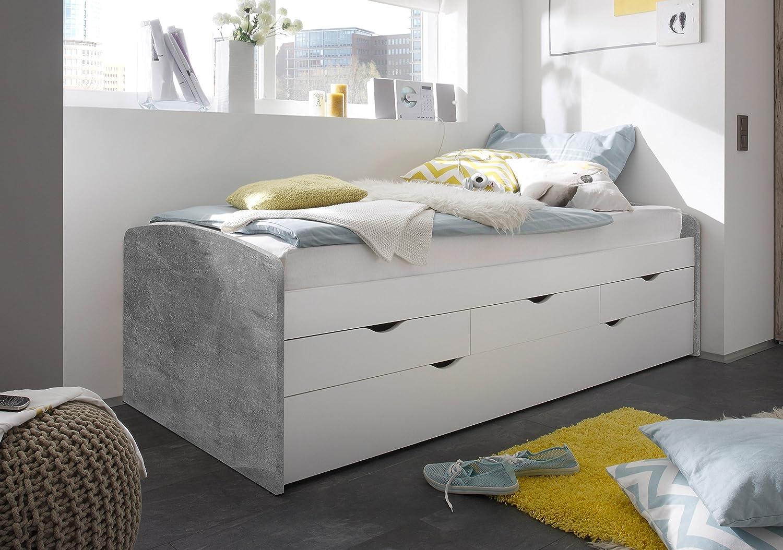 206 x 96 x 64 cm Holz Stella Trading Nessi Bett eiche sonoma // wei/ß