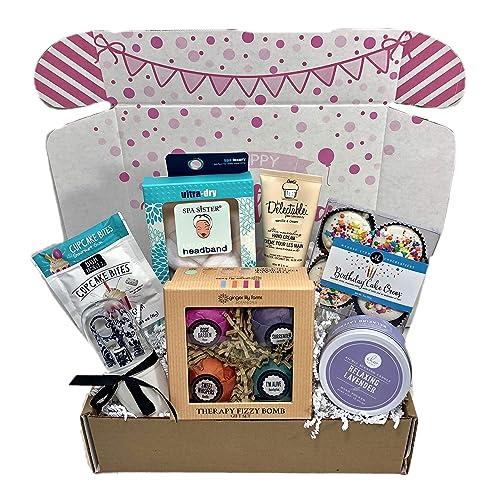 Spa Bath Bomb Birthday Theme Gift Basket Box Her Women Mom Aunt