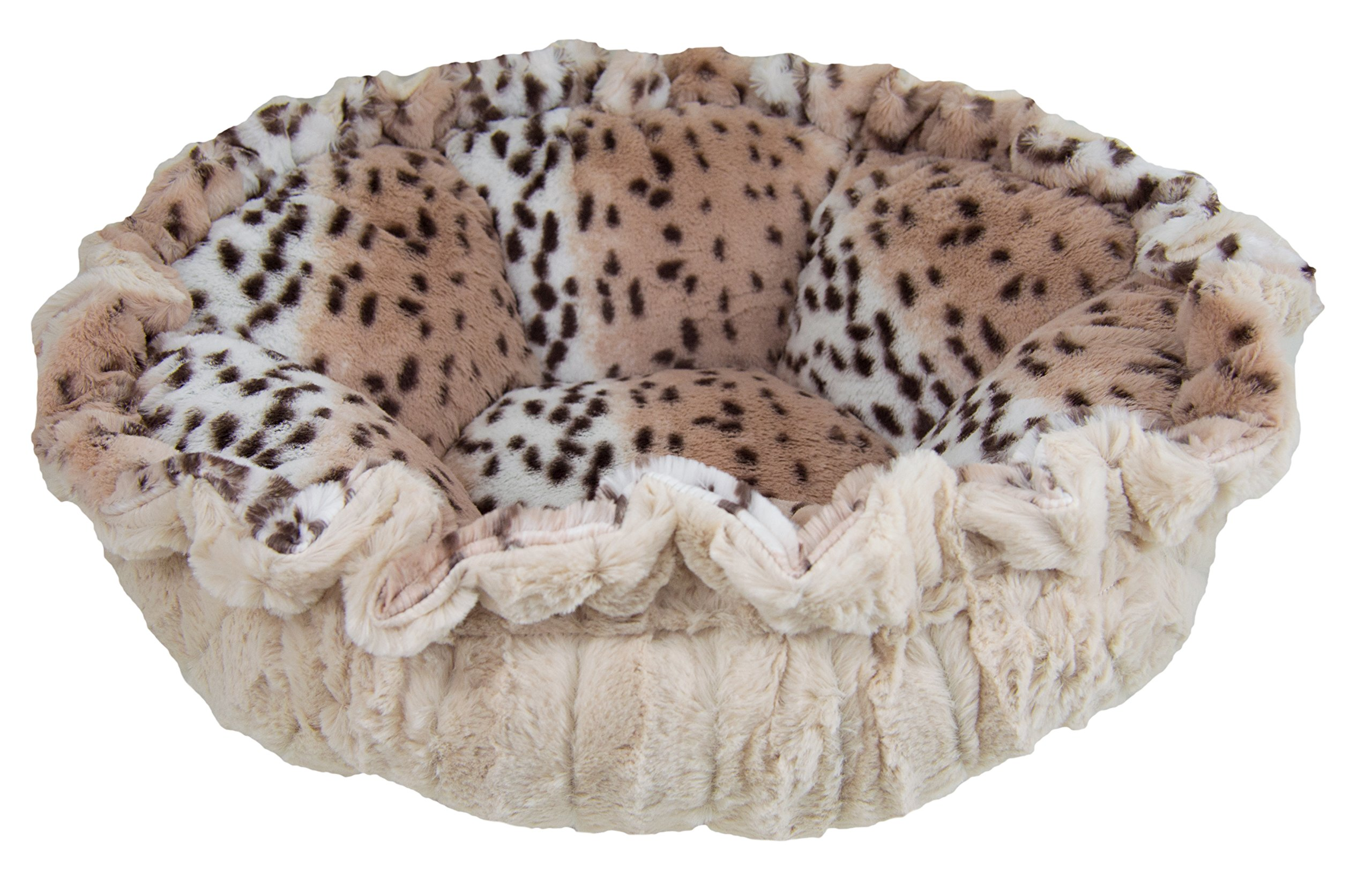 BESSIE AND BARNIE Ultra Plush Aspen Snow Leopard/Natural Beauty Luxury Deluxe Dog/Pet Cuddle Pod Bed by BESSIE AND BARNIE