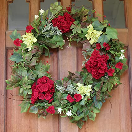 Belmont Silk Decorative Front Door Wreath 24 Inch   Year Round Beautiful  Silk Wreath Transforms Front
