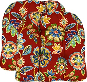 RSH Décor Set of 2 Indoor Outdoor Wicker Chair Cushion U Shape (Daelyn Cherry Red Yellow Blue Green Floral)