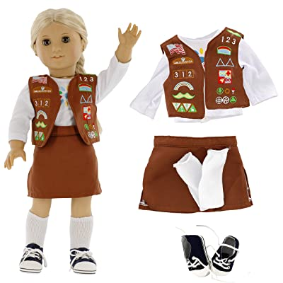 "Brownie Girl Scout Doll Outfit (5 Piece Set) - Clothes Fit American Girl & All 18"" Dolls - Premium Uniform Apparel: Toys & Games"