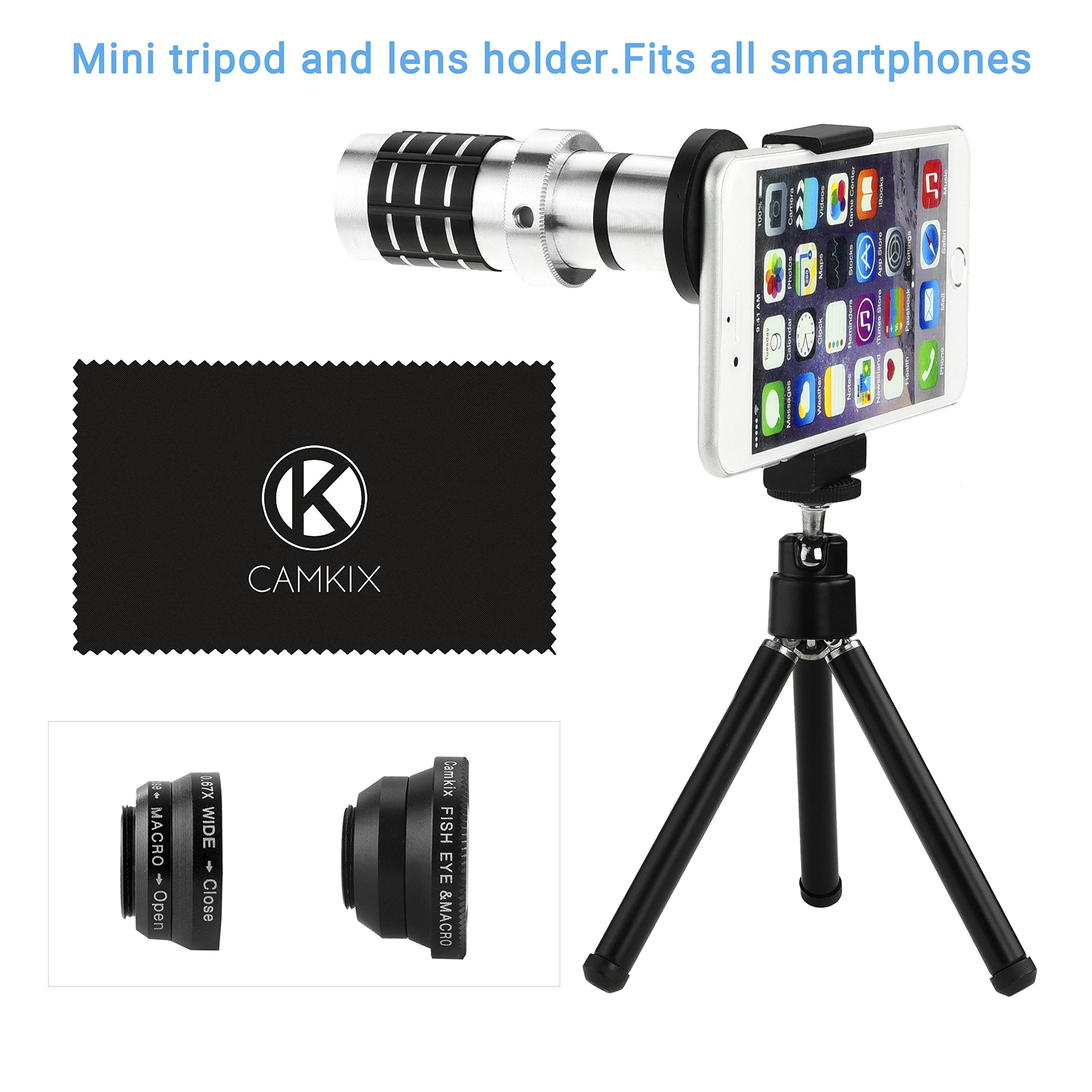 Eco-Fused Universal Smart Phone Camera Lens Kit including 12x Telephoto Manual Focus Lens / Fish Eye Lens / 2 in 1 Macro and Wide Angle Lens / Tripod / Lens and Phone Holder / Fits Most Phones by CamKix