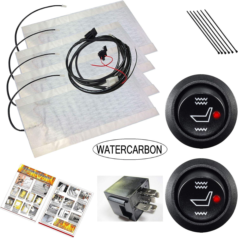 WATERCARBON Kit de calentador de asiento de fibra de carbono Ajuste Hi / Lo 3 Años de garantía USA - 2 asientos