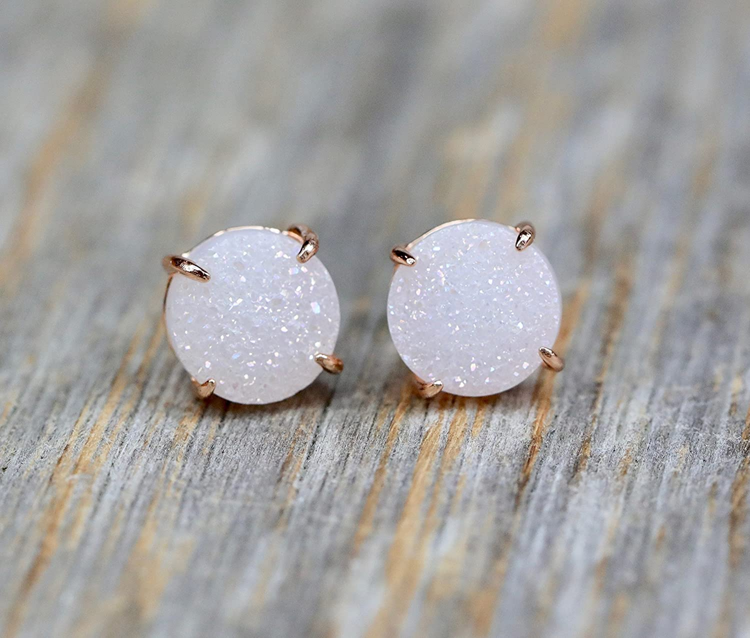 White Druzy Gemstone Prong Set Stud Earring- Real Druzy-Rose Gold- 10mm