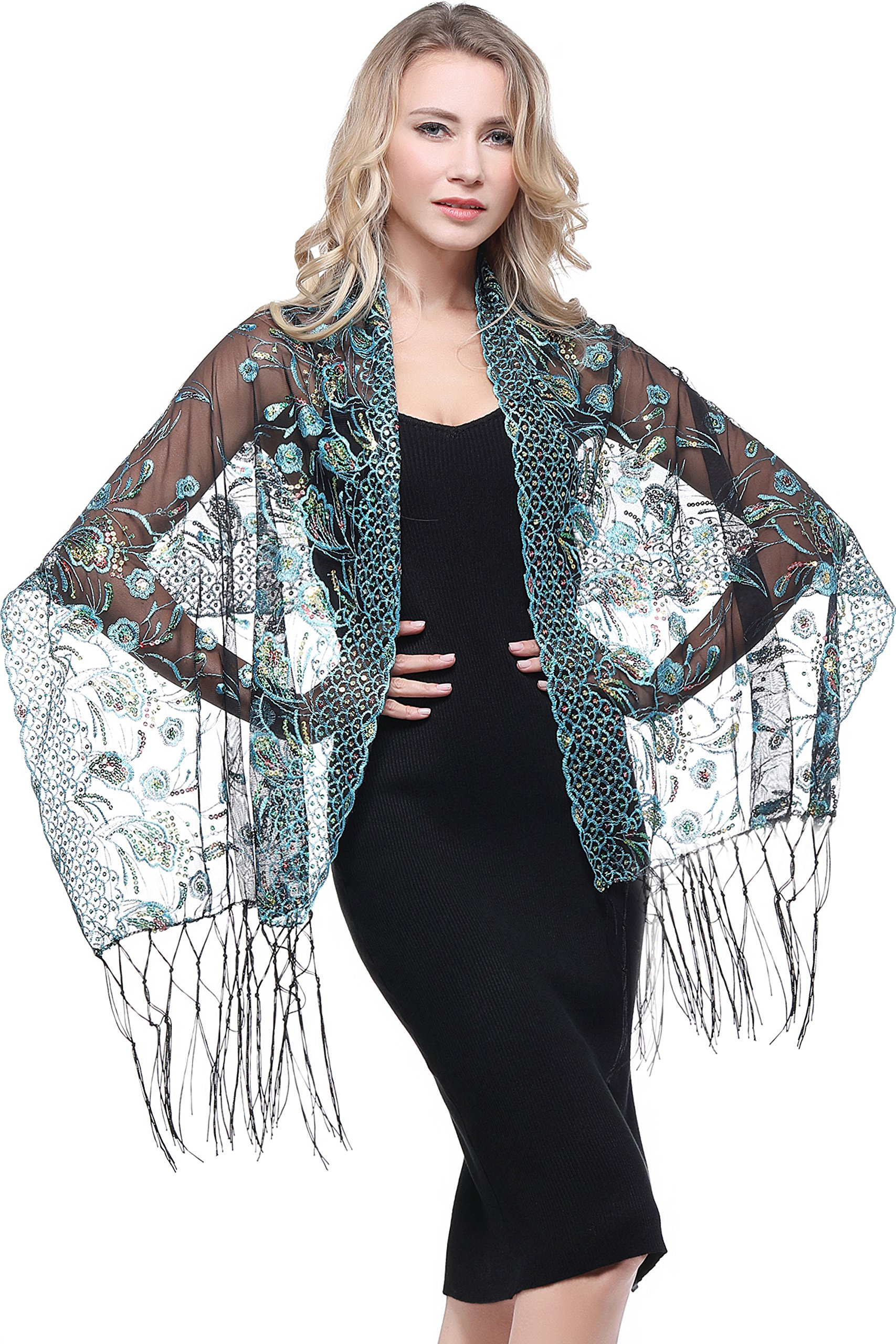BABEYOND 1920s Sequined Shawl Wraps Peacock Embroidery Evening Cape Pashmina Shawl Wedding Bridal Shawl Scarf