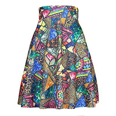 Modeway Elastic Waist Pleated Skater a line Midi Skirts for Women with Plus Size at Women's Clothing store