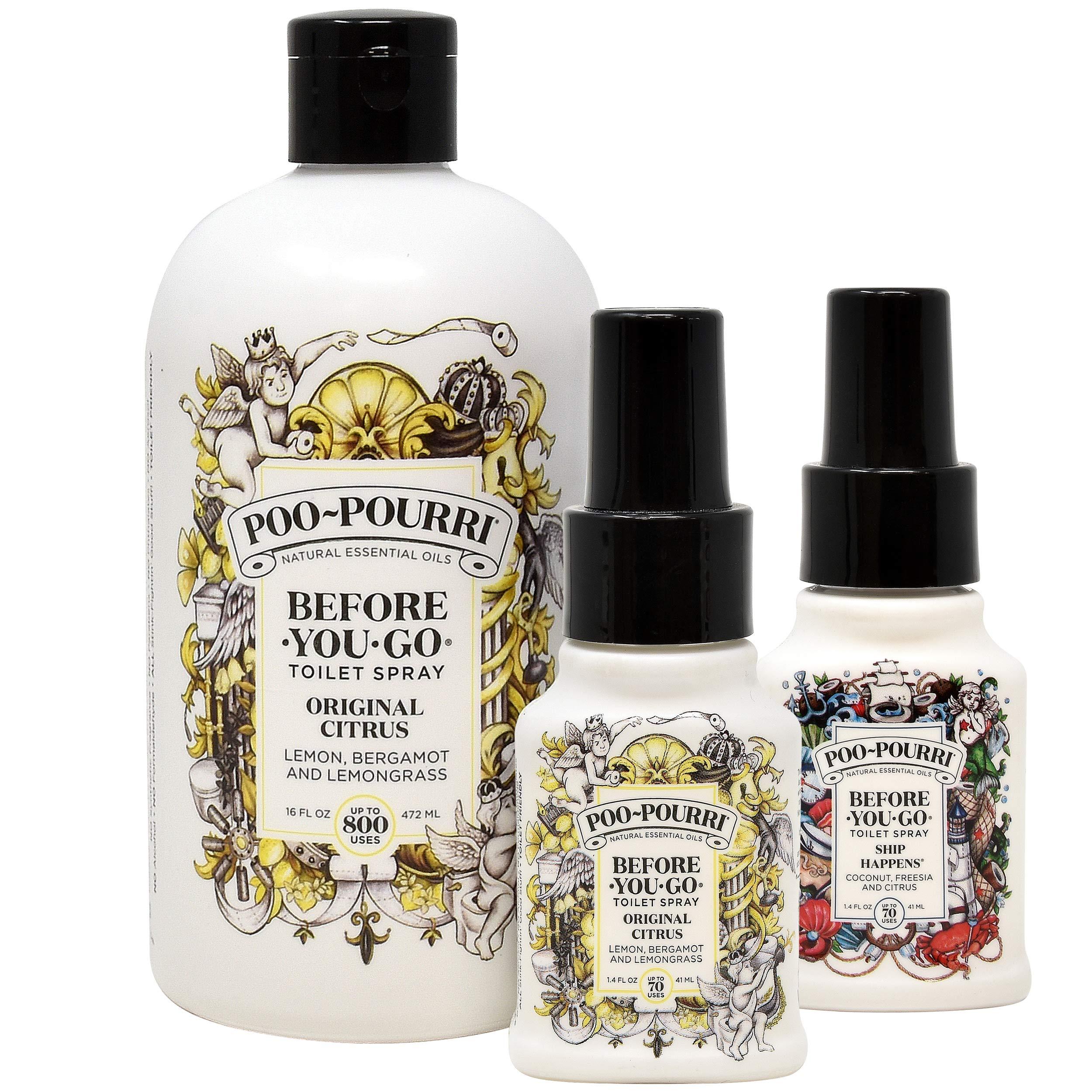 Poo-Pourri Original 16 Ounce Refill Bottle, Original 1.4 Ounce and Ship Happens 1.4 Ounce Bottle
