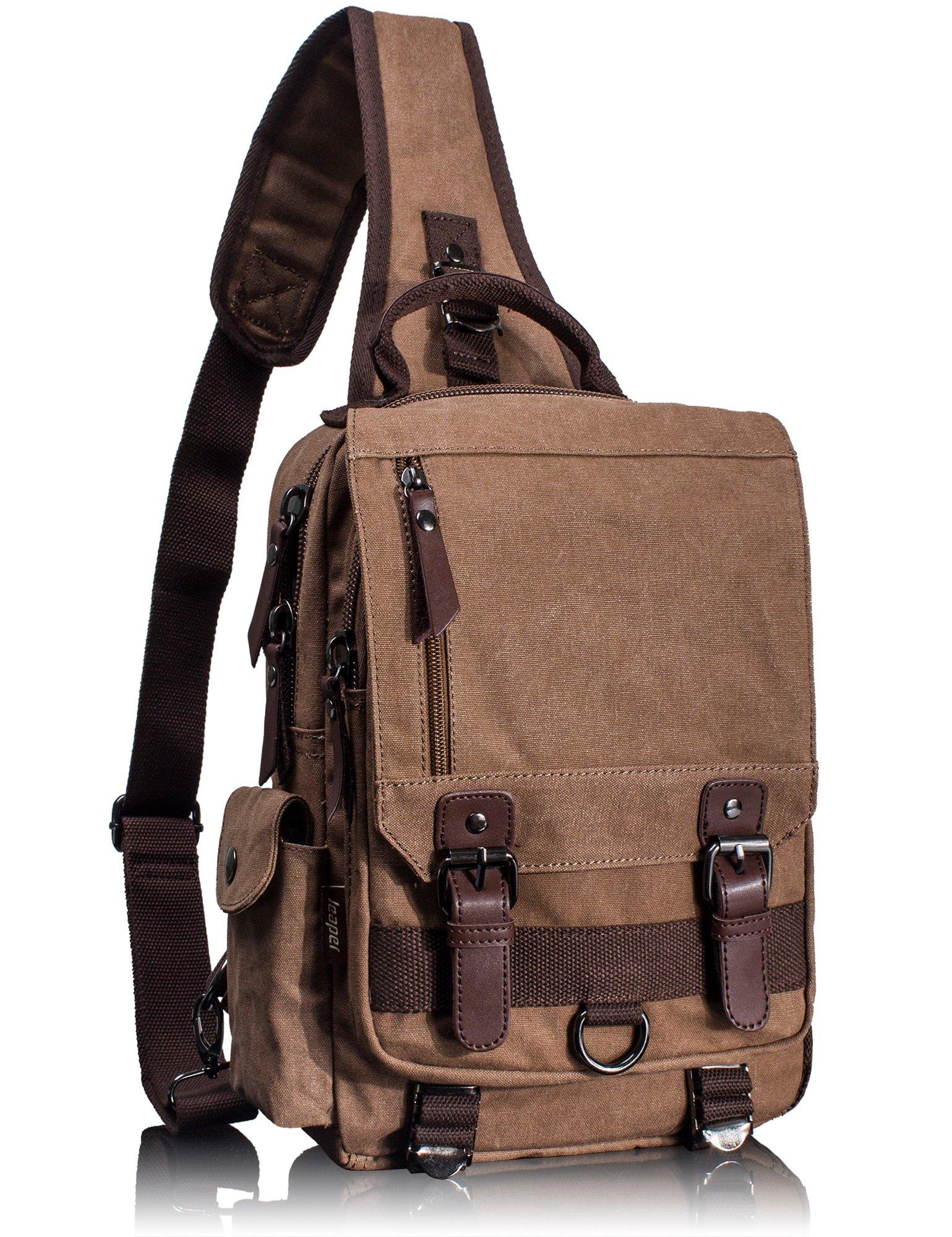 Leaper Canvas Messenger Bag Sling Bag Cross Body Bag Shoulder Bag Coffee, L