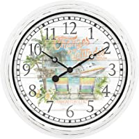 La Crosse Technology 433-3841MV 15.75″ Indoor/Outdoor Quartz Wall Clock - Margaritaville Changes in Latitudes, White/Multi