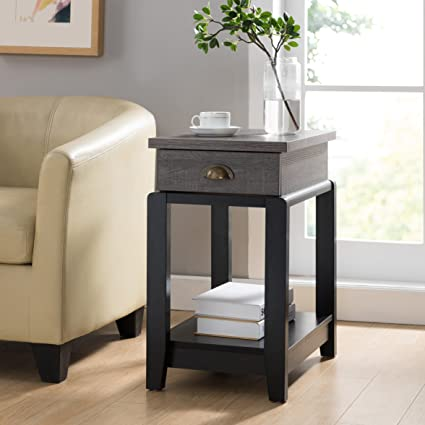 Amazon.com: Modern Transitional Two Tone End Side Table With 1 Drawer And  Lower Open Shelf   Includes Modhaus Living Pen: Kitchen U0026 Dining