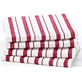 Cotton Craft - 4 Pack Oversized Kitchen Towels, 20x30 - Red, Pure 100% Cotton, Crisp Basket weave striped pattern, Convenient hanging loop - Highly absorbent, Professional Grade, Soft yet Sturdy