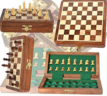 Azacus Brand - Chess Set - Handmade Wooden Rosewood Foldable Magnetic Chess Game Board with Storage Slots,