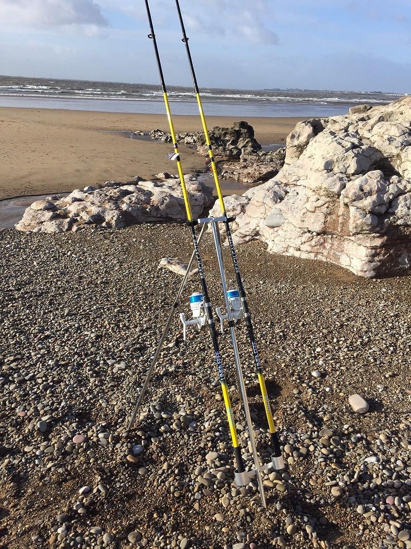 QUALITY SEA FISHING SET - 2 X 12FT BEACHCASTER RODS + 2 X SK7 SEA REELS + TRIPOD LINEAEFFE
