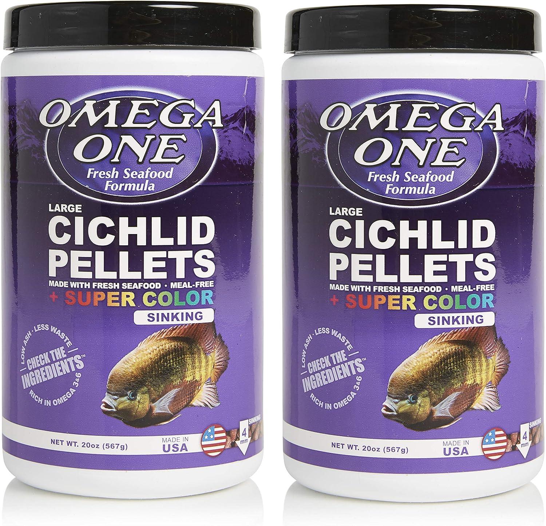 Omega One Super Color Sinking Cichlid Pellets, 4mm Large Pellets, 20 oz, Pack of 2