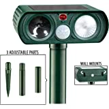 BodyBudd Animal Repellent, Solar Powered Ultrasonic Animal Repeller, with LED Flashing Light, Efficient Pest Repeller with Motion Sensor SND Warning Signals
