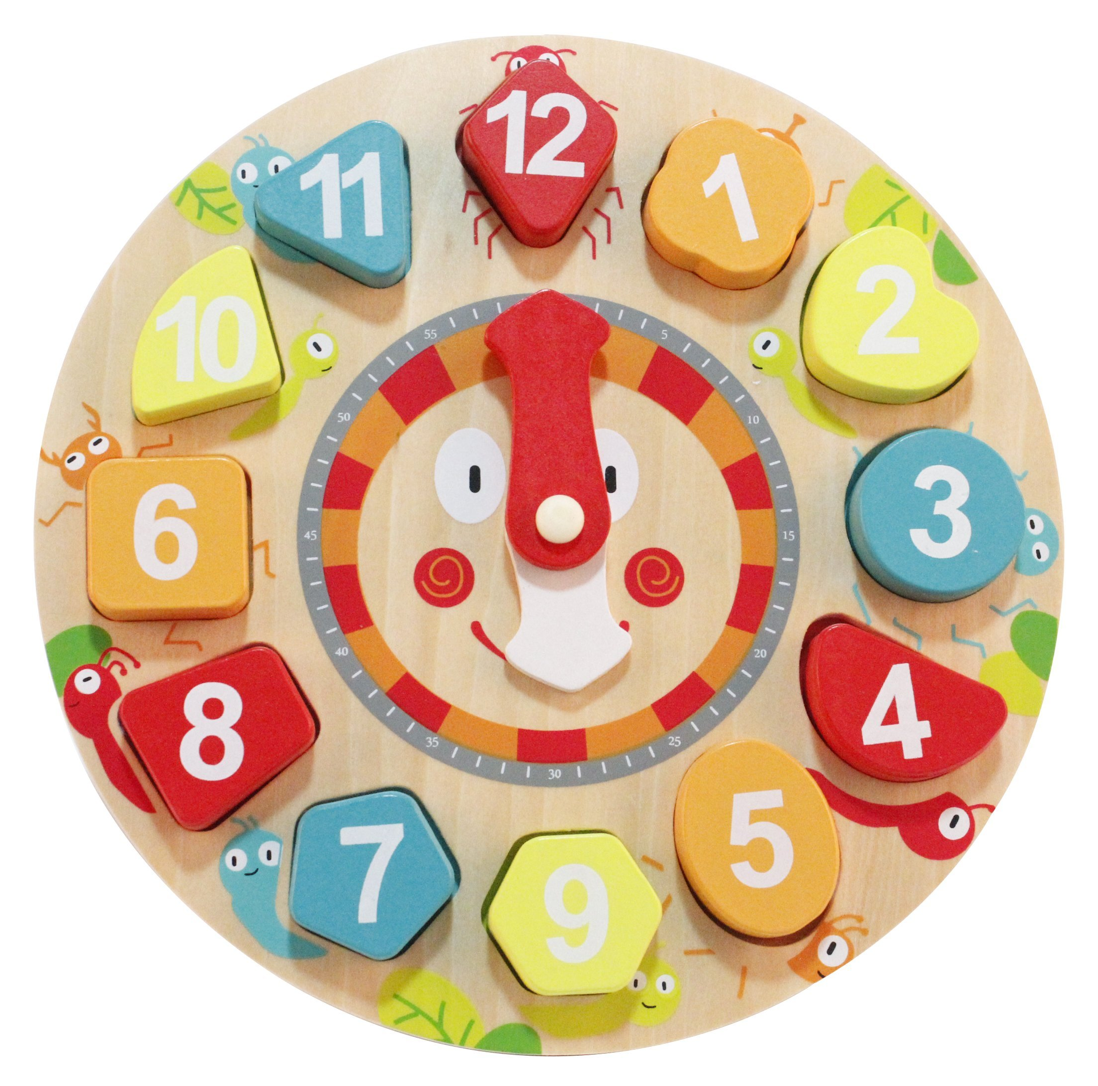 Babe Rock Sorting Clock - Wooden Shape Sorting Clock Puzzle Toy Teaching Learning Tell Time for Kids