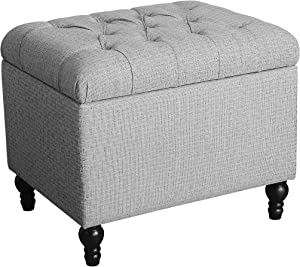 HomePop Upholstered Button Tufted Storage Ottoman with Hinged Lid, Grey