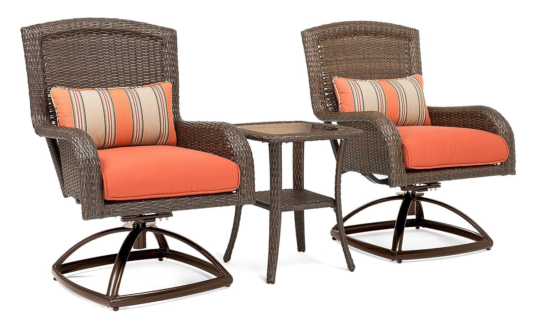 Amazon com la z boy outdoor sawyer 3 piece patio furniture bistro bundle 2 swivel rocker patio chairs and 1 side table grenadine orange garden