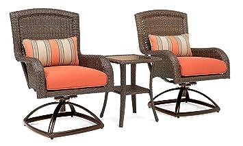 La Z Boy Outdoor Sawyer 3 Piece Patio Furniture Bistro Bundle (2 Swivel