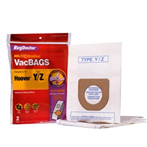 Hoover Y/Z Vacuum Bags by Rug Doctor, Two Replacement Bags Include Micro Filtration Finer Liner trapping 99% of Particles
