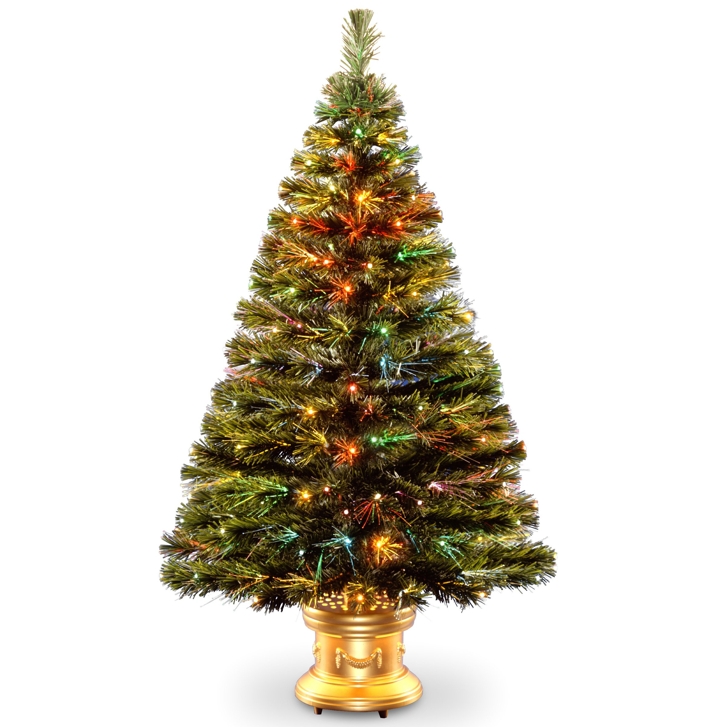 National Tree 48 Inch Fiber Optic Radiance Fireworks Tree with LED Lights in Gold Base (SZRX7-100L-48)