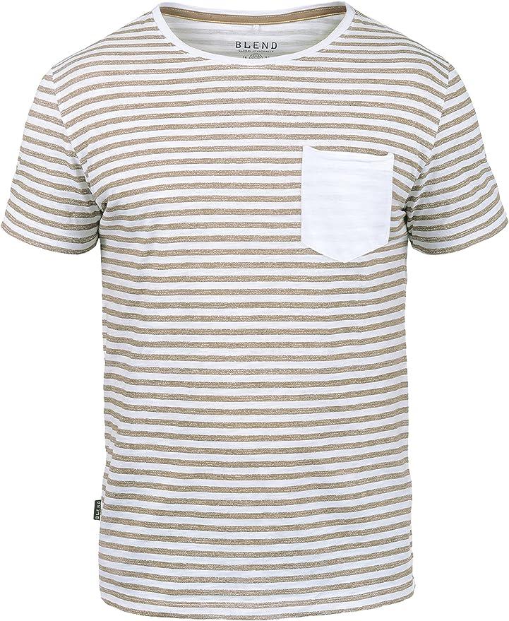 BLEND Malle Camiseta De Rayas Básica De Manga Corta para Hombre con Cuello Redondo De 100% algodón, tamaño:XXL, Color:Safari Brown (75115): Amazon.es: Ropa y accesorios