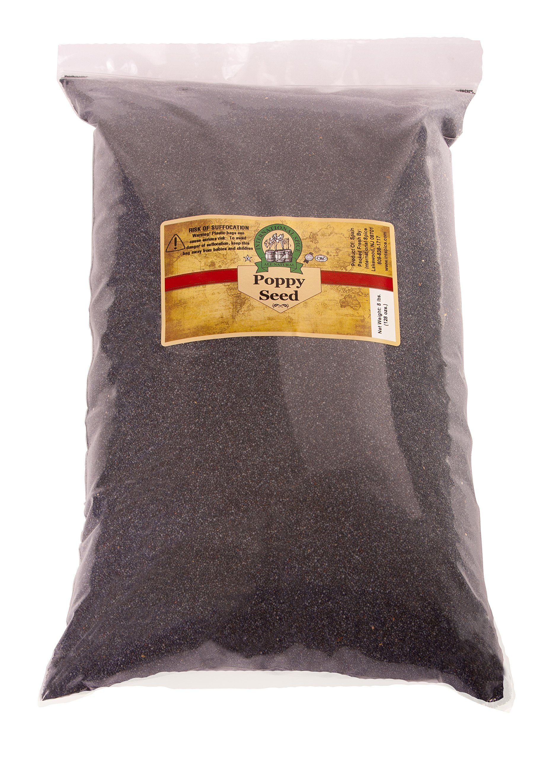 INTERNATIONAL SPICE- POPPY SEEDS - 8 Pounds, (Variety: Blue; Grade: A-1) (8 LBS)