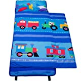 Wildkin Nap Mat Olive Kids by Cotton Children's Nap Mat With Built In Blanket and Pillowcase, Pillow Insert included, 100% Cotton, Children Ages 3-7 Years – Trains, Planes, Trucks
