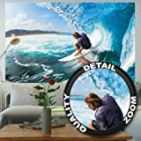 Fototapete Surfer in Welle Wandbild Dekoration Sport Surfbrett Deko Strand Surfing Ozean Surfen Meer Wellenreiter surf Natur   Foto-Tapete Wandtapete Fotoposter Wanddeko by GREAT ART (210 x 140 cm)