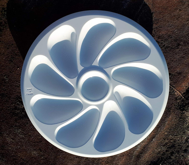 26 cm Durchmesser 4 St/ück f/ür 9 Austern Austernteller Kunststoff