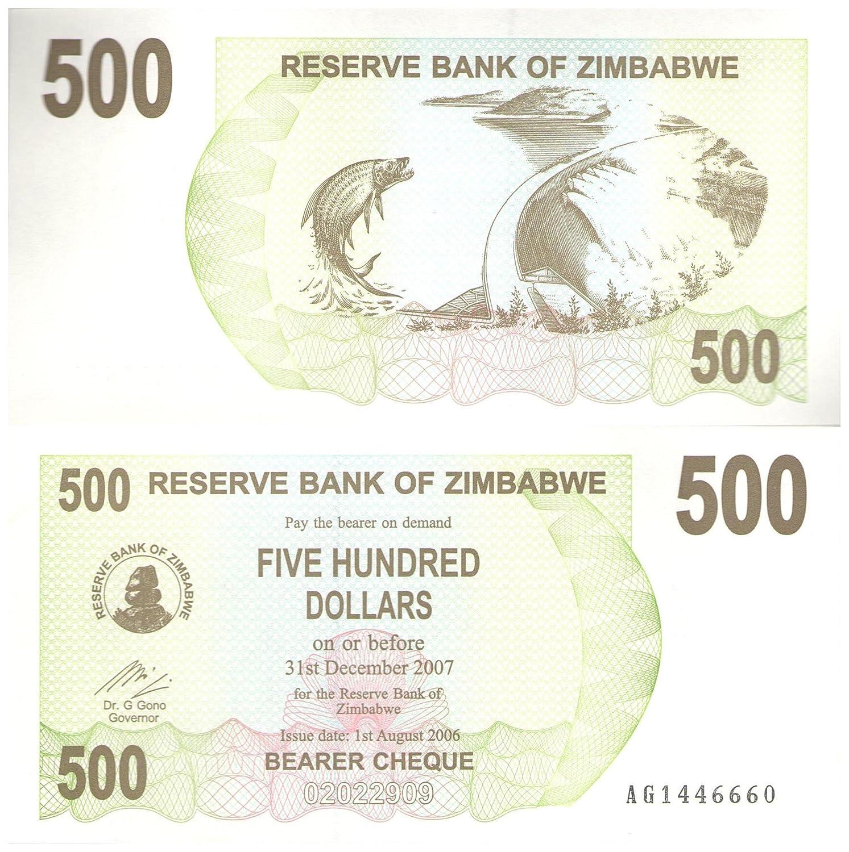 500 Dollars collectible banknote / Reserve Bank of Zimbabwe 2006-2007 / comes with COA