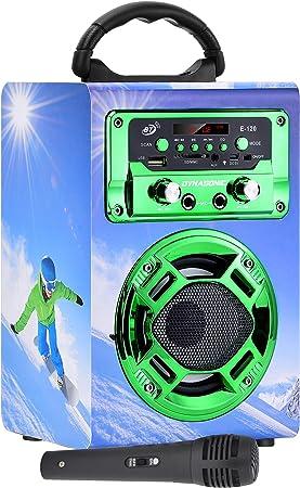 DYNASONIC - Mini Altavoz Bluetooth Portátil, Diseño Snowboarding 120-5, Color Verde | Mini Altavoz Inalámbrico Karaoke