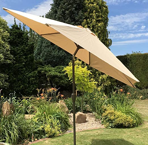 Sombrilla de jardín tamaño grande 2, 7 m o 3 m con manivela reclinable de metal: Amazon.es: Jardín