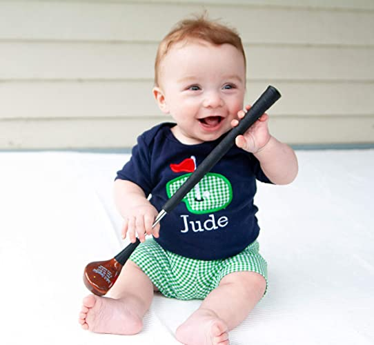 c1494001f Baby Boy Golf Outfit - Personalized Navy Golf Applique Bodysuit and  Matching Green Gingham Shorts