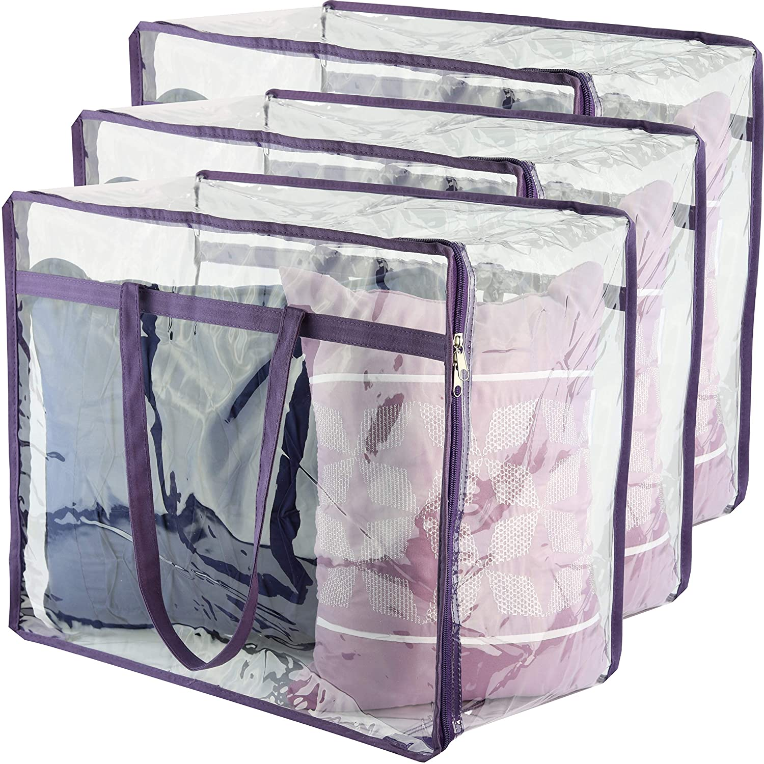 Linen 5 Pack Extra Large Clear Storage Bag Moving Totes for Clothing  Bedding