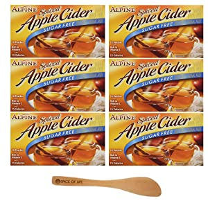 Alpine, Spiced Cider, Sugar Free Apple Flavored Drink Mix, 1.4oz Box (Pack of 6) - with Spice of Life Stirrer