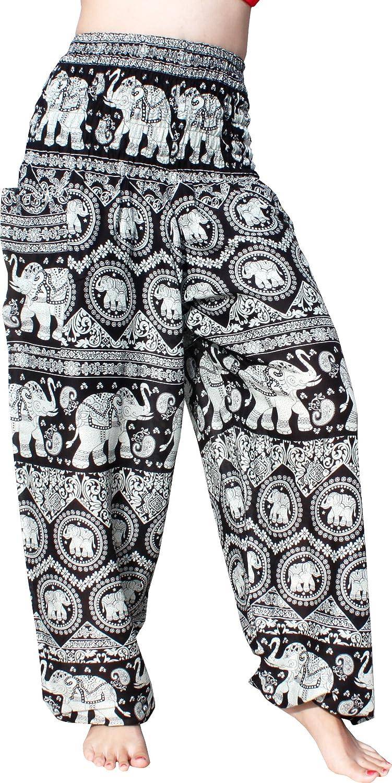 Elephant Zigzag  Black Full Funk Smocked Waist Women's Yoga Palazzo Hippie Boho Harem Pants Elephants