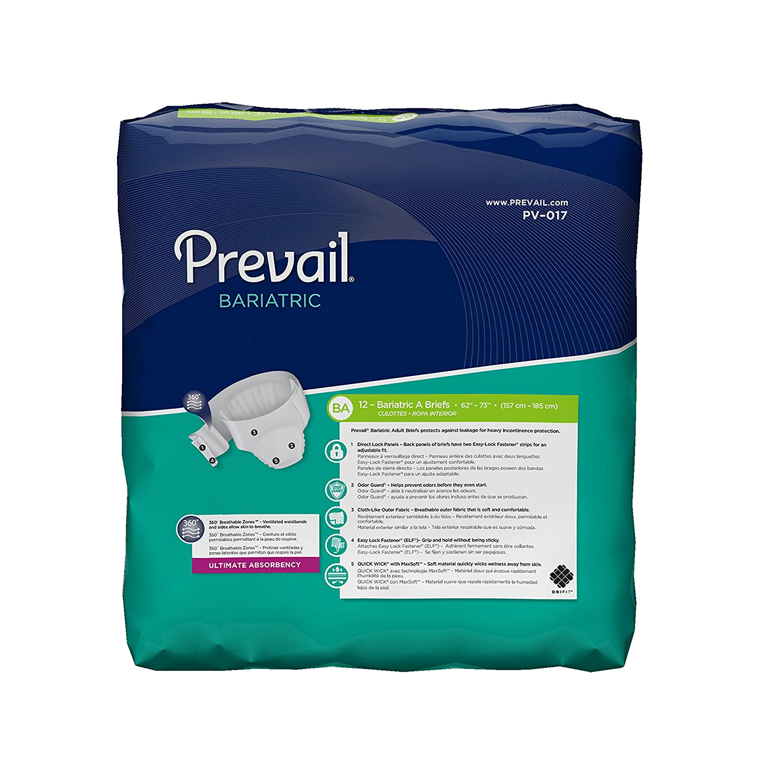 Amazon.com: FQPV017CA - Prevail Bariatric Brief Size A 62 - 73: Industrial & Scientific