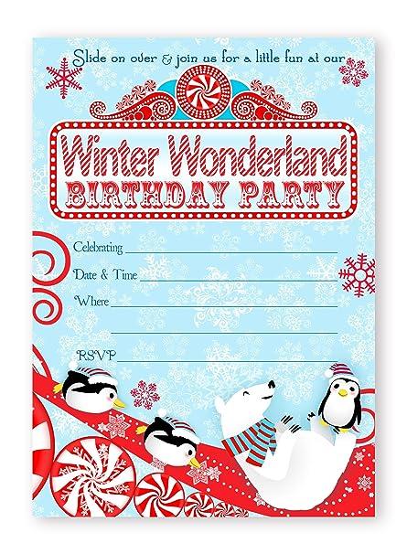 Amazon Com Winter Wonderland Large Invitations Red 10