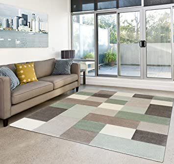 Tapis Salon Moderne Poils Courts Carreaux Couleurs Pastel