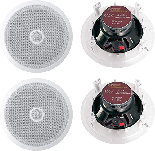 Pyle PDIC80 8 1200W 2-Way In-Ceiling Wall Home Speaker System, White 2 Pair